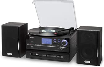 JENSEN JTA-990 3-Speed Stereo Turntable CD Recording System with Cassette Player, AM/FM Stereo Radio & MP3 Encoding