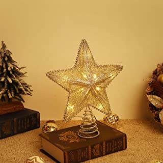 Lewondr Star Tree Topper, Battery Powered Decorative Light Christmas Concepts Springy Star with LED Lights Beautiful Star ...