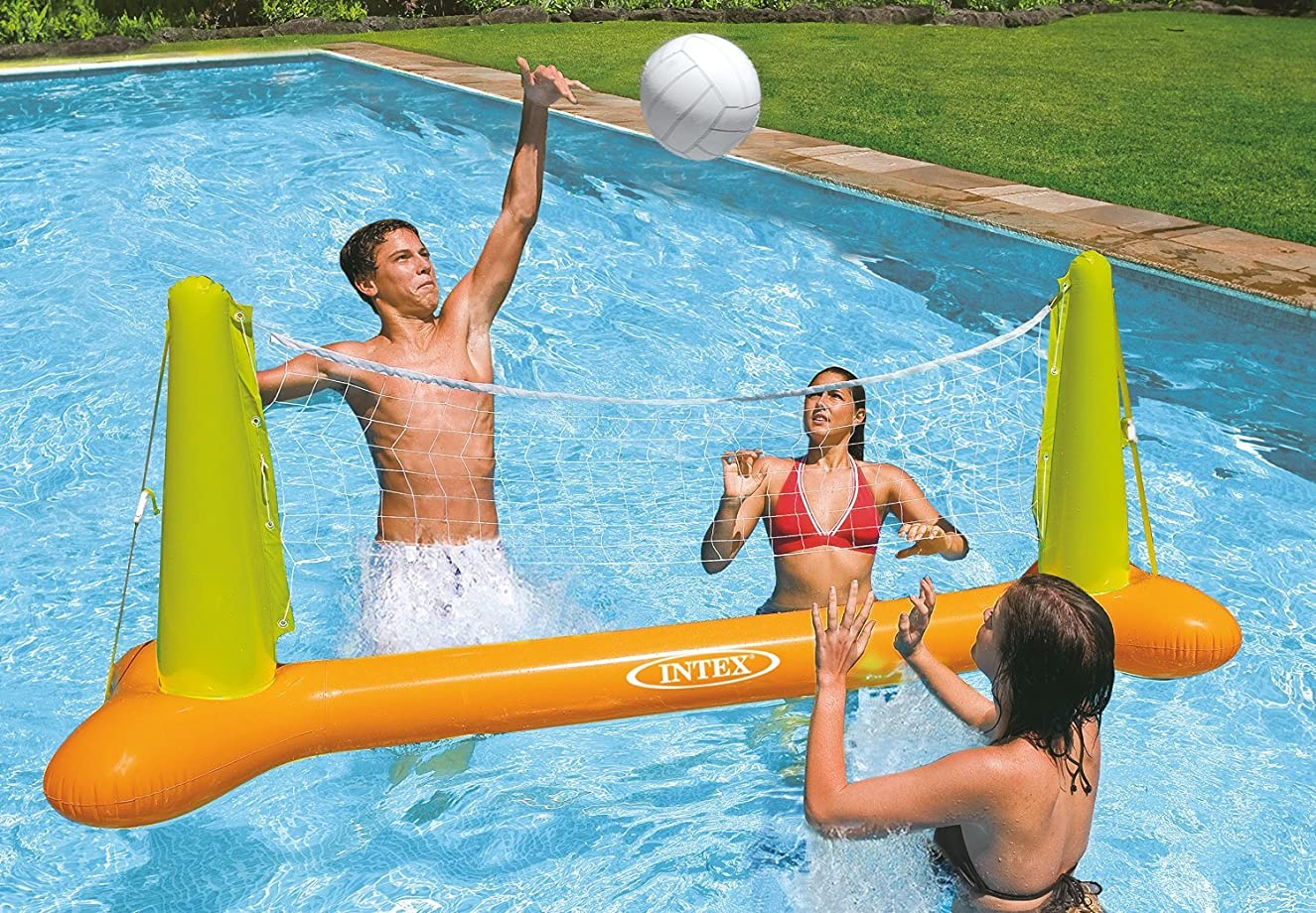 Intex Kids Backyard Fun Play Pool Volleyball Game Slide Inflatable Center Summer Outdoor Pool Fun Swimming