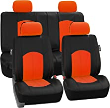 FH Group Limited TIME ONLY FH-PU008114 Perforated Leatherette Full Set Car Seat Covers, (Airbag & Split Ready), Orange/Black Color - Fit Most Car, Truck, SUV, or Van