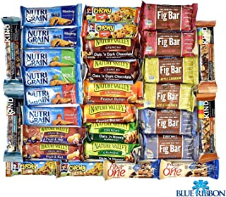 Snack Variety Pack, Healthy Bars Sampler & Care Package in an elegant Blue Ribbon Gift Box (30 Counts)