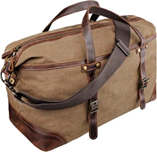 emissary Duffel Bag for Men   Mens Carry On Duffel Bag   Canvas and Leather Overnight Bag   Large Canvas Duffel Bag Men (Brown Weekender Bag)