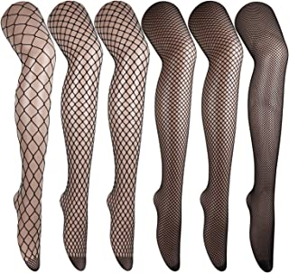 DRESHOW 6 Pack High Waist Tights Fishnet Stockings Thigh High Stockings Pantyhose