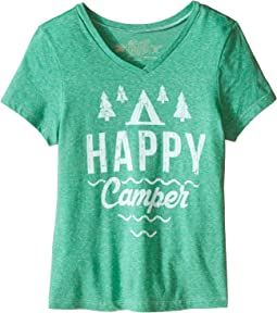 The Original Retro Brand Kids Happy Camper Short Sleeve V-Neck Tee (Little Kids/Big Kids)