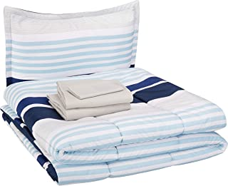 AmazonBasics Easy-Wash Microfiber Kid's Bed-in-a-Bag Bedding Set - Twin, Navy Stripes
