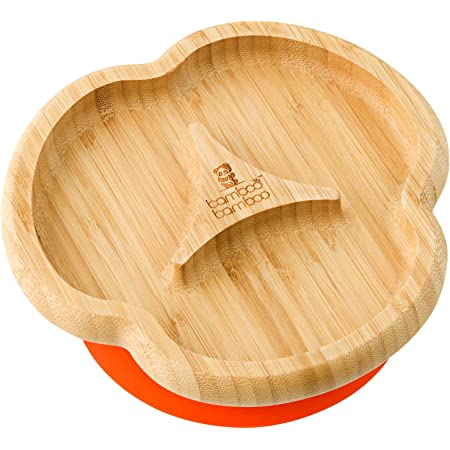 Cherry Baby Toddler Divider Plate Suction Stay Put Feeding Plate Natural Bamboo