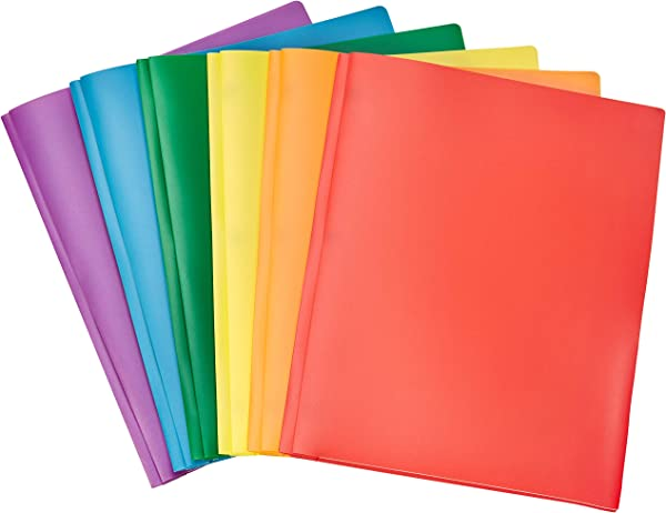 AmazonBasics Heavy Duty Plastic Folders With 2 Pockets For Letter Size Paper Pack Of 6