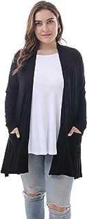 ZERDOCEAN Women's Plus Size Long Sleeve Lightweight Soft Printed Drape Cardigan with Pockets