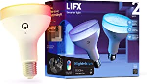 LIFX Nightvision, BR30 1100 lumens, Wi-Fi Smart Infrared LED Light Bulb, Billions of Colors and Whites, No Bridge Required, Compatible with Alexa, Hey Google, HomeKit and Siri (2 Pack)