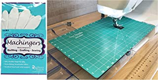Sew Steady Free Motion Quilting Grid Slider Mat 12 x 20 and Machingers Gloves Size M/L Bundle