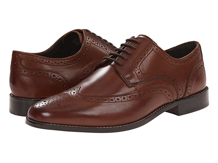 Men's 1950s Shoes Styles- Classics to Saddles to Rockabilly Nunn Bush Nelson Wing Tip Dress Casual Oxford Brown Mens Dress Flat Shoes $59.95 AT vintagedancer.com