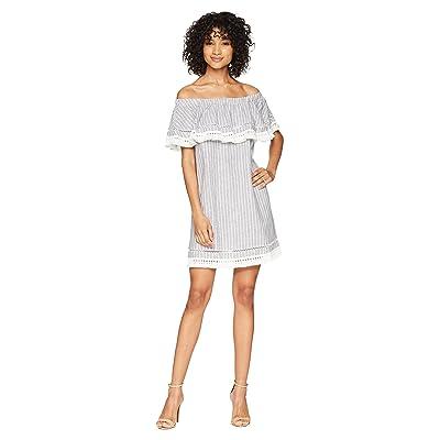 1.STATE Off Shoulder Shift Dress with Tassel (Ocean Slate) Women