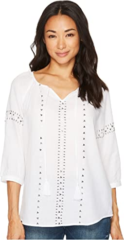 3/4 Raglan Sleeve Embellished Blouse