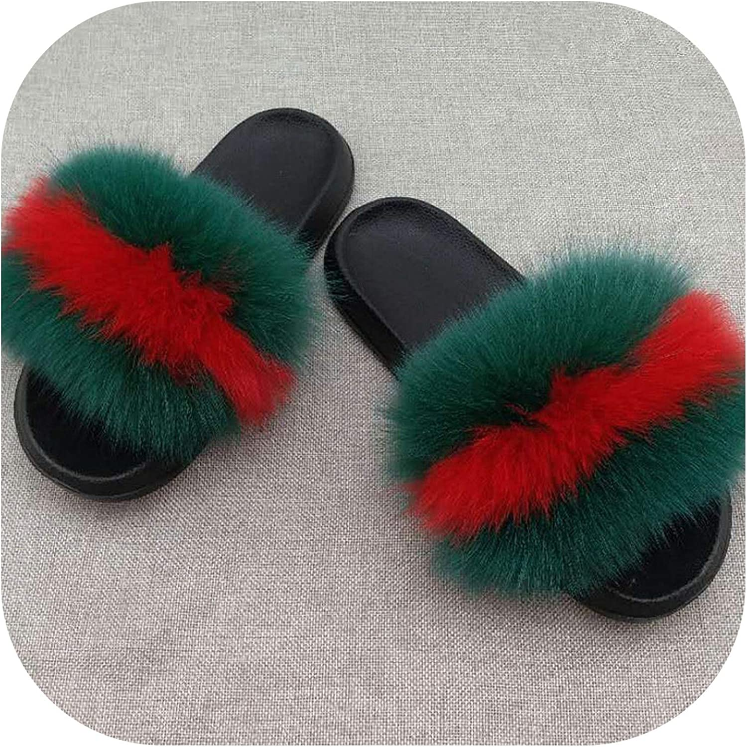 Real Fur Slippers Women Fox Home Fluffy Slides Feathers Furry Summer Flats Raccoon Ladies shoes,Fox Hair Mixed,9.5