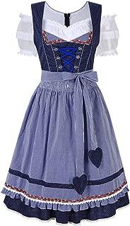 RaiFu レディース ワンピース ドレス チェック柄 バイエルン オクトーバーフェスト衣装 祭り衣装 3セット 38 ブルー