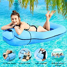2020 Inflatable Pool Float Portable Floating Lounger Chair Water Hammock Raft Swimming Ring for Adults & Kids, Lightweight Premium Single Layer Nylon Fabric No Pump Required, 3 Seconds Filling the Air