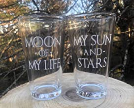 Set of Two My Sun And Stars Moon of My Life Beer Pint Glass Wedding Engagement Anniversary Gift Love Glass Laser Engraved 16 oz Game of Thrones Inspired Dothraki Daenerys Drogo GOT
