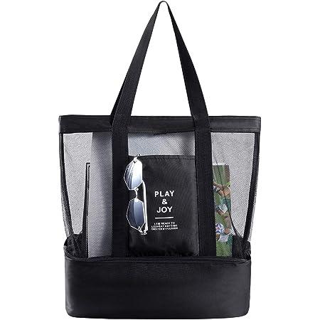 Strandtasche Groß mit Kühlfach Reißverschluss Sommer Tasche für Strand Urlaub...