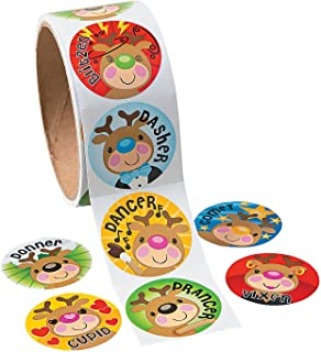 FX Christmas Reindeer Face Roll Stickers (100 Stickers Per Roll)