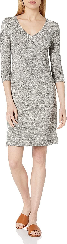 Daily Ritual Women's Standard Supersoft Terry Bracelet-Sleeve V-Neck Dress