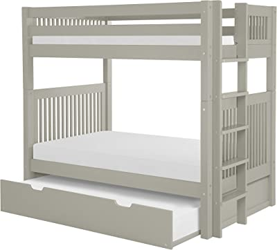 Camaflexi Bunk Bed with Trundle Mission Headboard Bed End Ladder, Twin, Grey Finish