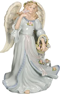 Cosmos 1461 Fine Porcelain Angel with Flower Basket and Butterfly Musical Figurine, 7-7/8-Inch