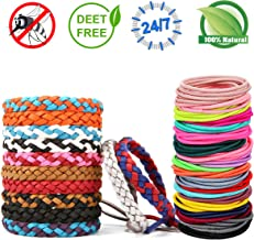 Peskypest Mosquito Repellent Leather Bracelet Bands- 100% Natural & Waterproof- Premium Pest Control Bug Insect Repellent, Non-Toxic Adult Safe Wristband with 4 Anti-lace Hair Bands for Kids