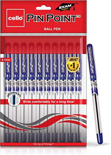 Cello Pinpoint Ball Pen (Pack of 10 pens - Blue) | Lightweight ball pens for pressure free & fine writing | Exam pens...