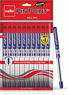 Cello Pinpoint Ball Pen (Pack of 10 pens - Blue)   Lightweight ball pens for pressure free & fine writing   Exam pens with...