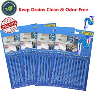 Drain Sticks Sink Sticks Drain,Drain Cleaner & Deodorizer Drain Deodorizer Sticks Unscented Non-Toxic for Kitchen Bathroom Sinks Pipes Septic Tank Safe As Seen On TV (48pcs, Blue)