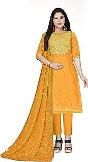 Maroosh Women'S Cotton Fabric Orange Color Chudidar Free Size Dress Material