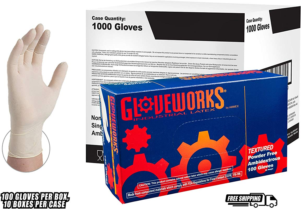 GLOVEWORKS Industrial White Latex Gloves 4 Mil Powder Free Textured Disposable Large TLF46100 Case Of 1000