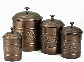 Old Dutch International 811 Copper Old Dutch Antique Heritage Canister 4 Piece Set