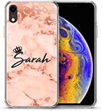 TULLUN Personalized Rose Gold Marble Crystal Clear Hybrid Shockproof TPU Bumper & Hard Back Plate Phone Case Cover for iPhone - Rose Gold Marble Name with Crown - for iPhone 6 / 6s