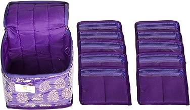 HomeStrap Brocade Fabric Jewellery Box/Organizer with 10 Transparent Pouch - Purple