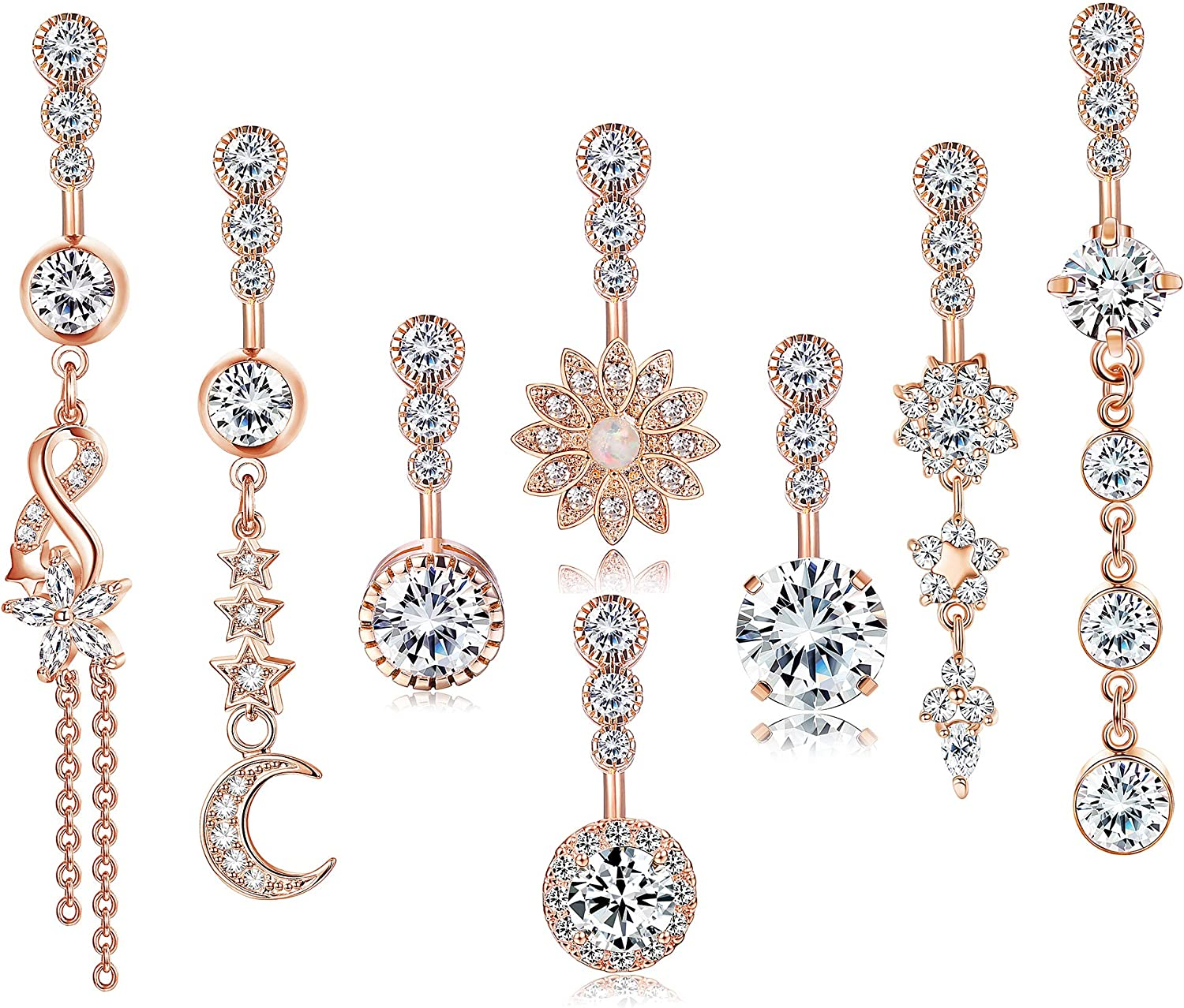 LOLIAS 14G 316L Surgical Steel Dangle Belly Button Rings for Women Clear CZ Navel Rings Belly Rings Belly Piercing Jewelry 8Pcs