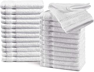 Haven Cotton 100% Premium Cotton Washcloth Towel Set - Pack of 24, 13 x 13 inches, 580 GSM, White