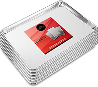 """Last Confection 6 Cookie Baking Sheets 13"""" x 18"""" - Rimmed Aluminum Jelly Roll Trays - Half Sheet Pans"""