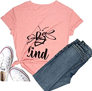 Hellopopgo Womens Be Kind T Shirt Summer Letter Print Short Sleeve Loose Tops Graphic Tees V-Neck