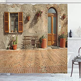 Ambesonne Tuscan Decor Collection, Medieval Facade Italian Rustic Wooden Door Brick Wall in Small Village, Polyester Fabric Bathroom Shower Curtain Set with Hooks, Peru Salmon