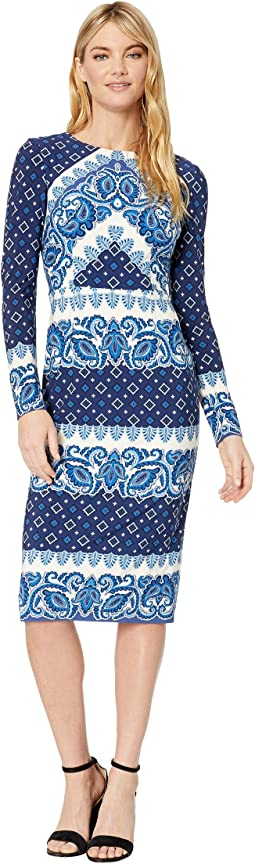 Foulard Border Printed Jersey Midi Dress