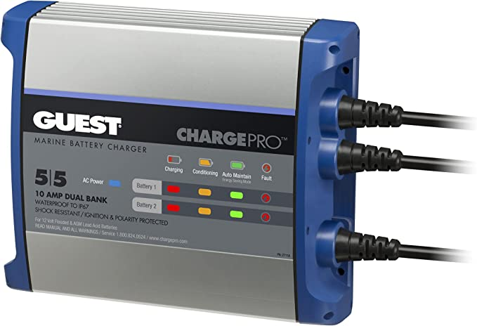Amazon.com: Guest On-Board Battery Charger 10A / 12V; 2 Bank; 120V Input,  2711A: Automotive | Guest Battery Charger Wiring Diagram |  | Amazon.com