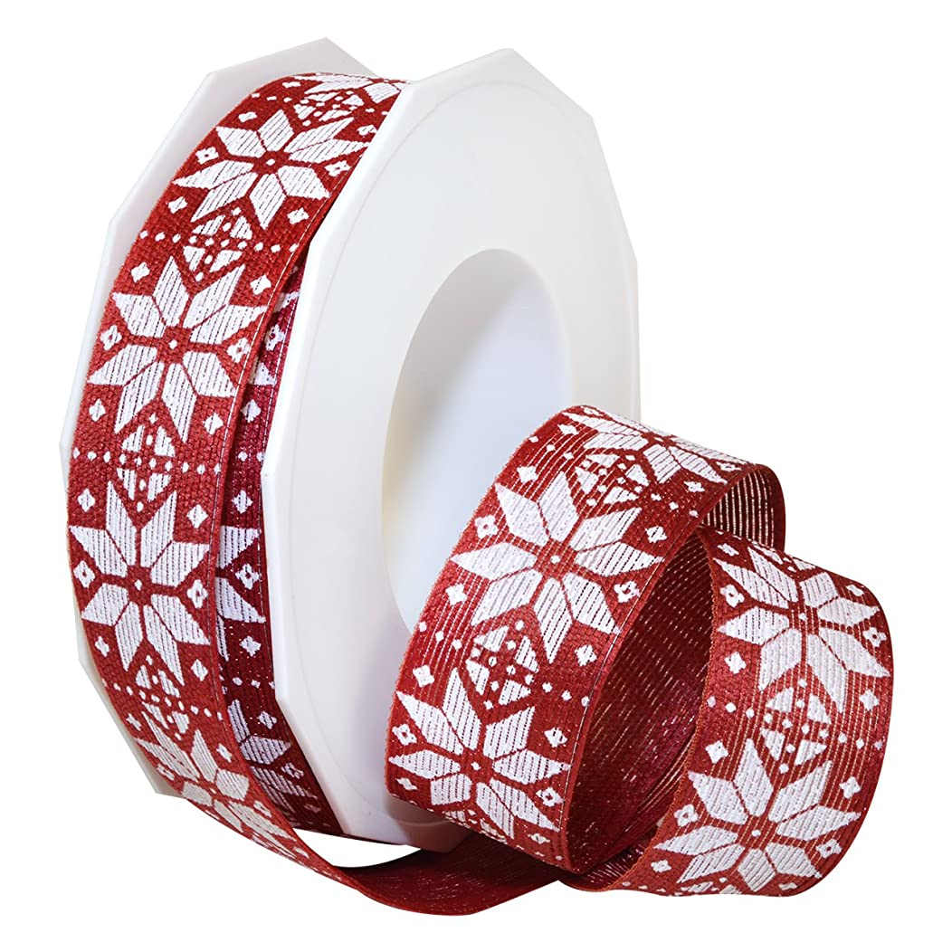 Morex Ribbon Matterhorn, French Wired Polyester, 1 Inch by 16.5 Yards, Burgundy Nordic, Item 70125/15-119