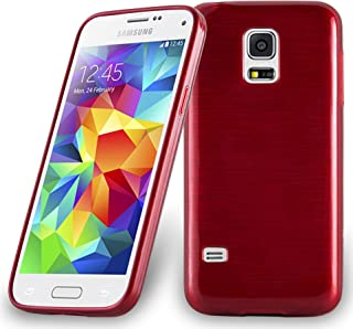 Cadorabo Case Works with Samsung Galaxy S5 Mini / S5 Mini DUOS in RED – Shockproof and Scratch Resistant TPU Silicone Cover – Ultra Slim Protective Gel Shell Bumper Back Skin