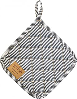 ASD Living Potholder Vintage Railroad Stripe Denim, 8 Inch, Blue/White/Stripe