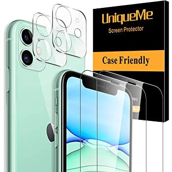 Ferilinso Screen Protector for iPhone 11 with 3 Pack Camera Lens Protector 3 Pack Tempered Glass Film for iPhone 11 6.1 Inch