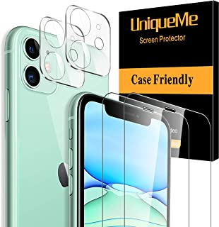 [2+2 Pack] UniqueMe Screen Protector Compatible with iPhone 11 (6.1 inch), 2 Pack Screen Protector and 2 Pack Camera Lens ...