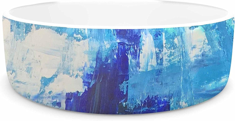 KESS InHouse Geordanna Fields Walked On Water bluee Teal Abstract Pet Bowl, 7  Diameter