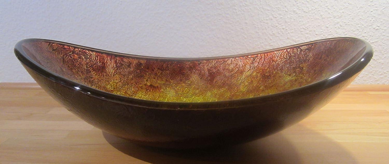 schwarz Aufsatz Glas Waschbecken Antik rot Gold oval