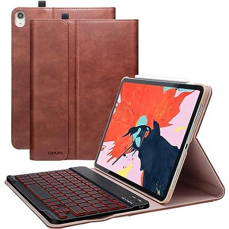TOPLIFE Funda con Teclado iPad 10.9 2020, Funda iPad 11 2018 con Ranura de Lápiz y Teclado Español Retroiluminado de 7 Colores-Teclado Bluetooth ...